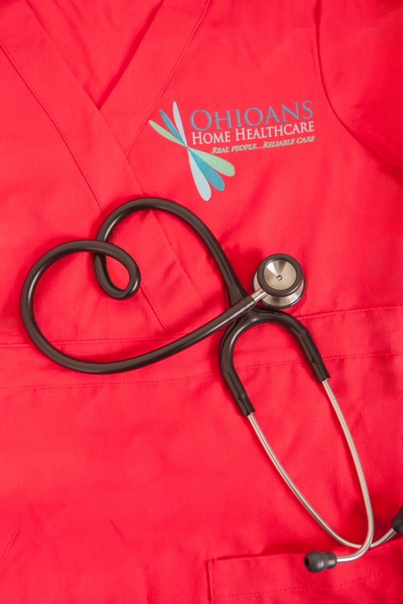 Red Ohioans nurse uniform and stethoscope.