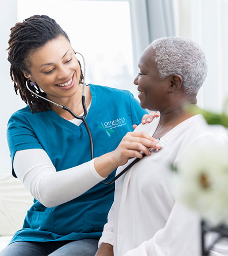 Ohioans Home Healthcare employee providing skilled nursing care.