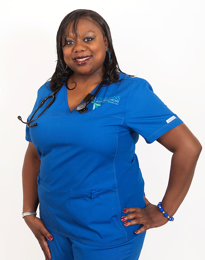 Image of Ohioans Home Healthcare employee in a blue uniform.